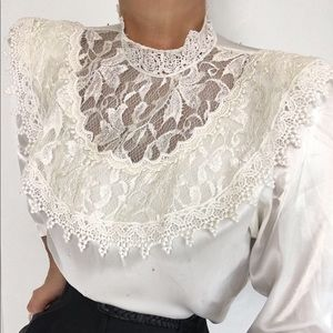 Exquisite Vintage Ivory Satin Lace Blouse